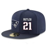 Wholesale Cheap New England Patriots #21 Malcolm Butler Snapback Cap NFL Player Navy Blue with White Number Stitched Hat