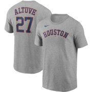 Wholesale Cheap Houston Astros #27 Jose Altuve Nike Name & Number T-Shirt Gray