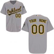 Wholesale Cheap Athletics Personalized Authentic Grey MLB Jersey (S-3XL)