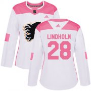 Wholesale Cheap Adidas Flames #28 Elias Lindholm White/Pink Authentic Fashion Women's Stitched NHL Jersey
