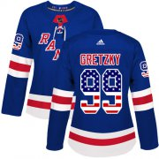 Wholesale Cheap Adidas Rangers #99 Wayne Gretzky Royal Blue Home Authentic USA Flag Women's Stitched NHL Jersey