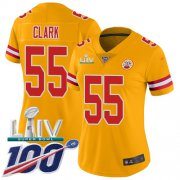 Wholesale Cheap Nike Chiefs #55 Frank Clark Gold Super Bowl LIV 2020 Women's Stitched NFL Limited Inverted Legend 100th Season Jersey