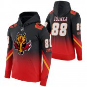 Wholesale Cheap Calgary Flames #88 Jarome Iginla Adidas Reverse Retro Pullover Hoodie Black