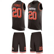 Wholesale Cheap Nike Browns #20 Tavierre Thomas Brown Team Color Men's Stitched NFL Limited Tank Top Suit Jersey