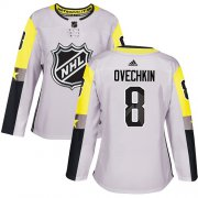 Wholesale Cheap Adidas Capitals #8 Alex Ovechkin Gray 2018 All-Star Metro Division Authentic Women's Stitched NHL Jersey