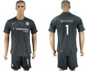Wholesale Cheap Chelsea #1 Begovic Black Soccer Club Jersey