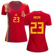 Wholesale Cheap Women's Spain #23 Reina Red Home Soccer Country Jersey