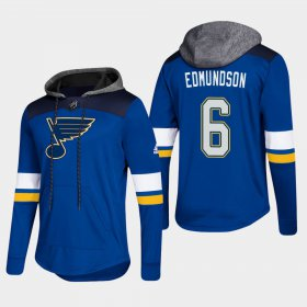 Wholesale Cheap Blues #6 Joel Edmundson Blue 2018 Pullover Platinum Hoodie
