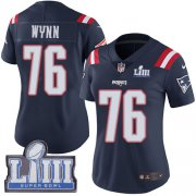 Wholesale Cheap Nike Patriots #76 Isaiah Wynn Navy Blue Super Bowl LIII Bound Women's Stitched NFL Limited Rush Jersey