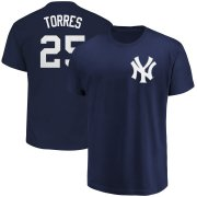 Wholesale Cheap New York Yankees #25 Gleyber Torres Majestic Official Name & Number T-Shirt Navy