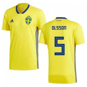 Wholesale Cheap Sweden #5 Olsson Home Kid Soccer Country Jersey
