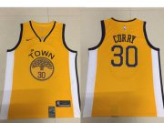 Wholesale Cheap Men's Golden State Warriors #30 Stephen Curry Nike Yellow 2018/19 Swingman Earned Edition Jersey