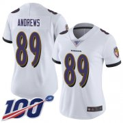 Wholesale Cheap Nike Ravens #89 Mark Andrews White Women's Stitched NFL 100th Season Vapor Limited Jersey