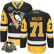 Wholesale Cheap Penguins #71 Evgeni Malkin Black Alternate 50th Anniversary Stitched NHL Jersey