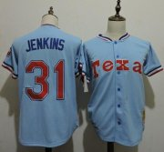 Wholesale Cheap Mitchell And Ness 1981 Rangers #31 Ferguson Jenkins Light Blue Throwback Stitched MLB Jersey