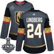 Wholesale Cheap Adidas Golden Knights #24 Oscar Lindberg Grey Home Authentic 2018 Stanley Cup Final Women's Stitched NHL Jersey