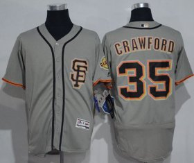 Wholesale Cheap Giants #35 Brandon Crawford Grey Flexbase Authentic Collection Road 2 Stitched MLB Jersey