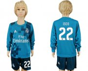 Wholesale Cheap Real Madrid #22 Isco Sec Away Long Sleeves Kid Soccer Club Jersey