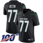 Wholesale Cheap Nike Jets #77 Mekhi Becton Black Alternate Men's Stitched NFL 100th Season Vapor Untouchable Limited Jersey