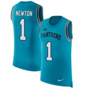 Wholesale Cheap Nike Panthers #1 Cam Newton Blue Alternate Men's Stitched NFL Limited Rush Tank Top Jersey