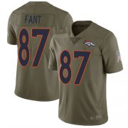 Wholesale Cheap Nike Broncos #87 Noah Fant Olive Men's Stitched NFL Limited 2017 Salute To Service Jersey