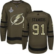 Cheap Adidas Lightning #91 Steven Stamkos Green Salute to Service Youth 2020 Stanley Cup Champions Stitched NHL Jersey