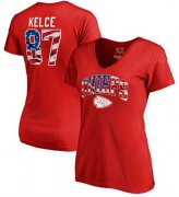 Wholesale Cheap Women's Kansas City Chiefs #87 Travis Kelce NFL Pro Line by Fanatics Branded Banner Wave Name & Number T-Shirt Red