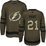 Wholesale Cheap Adidas Lightning #21 Brayden Point Green Salute to Service Stitched Youth NHL Jersey