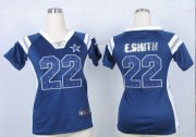 Wholesale Cheap Nike Cowboys #22 Emmitt Smith Navy Blue Team Color Women's Stitched NFL Elite Draft Him Shimmer Jersey