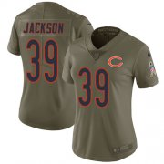 Wholesale Cheap Nike Bears #39 Eddie Jackson Olive Women's Stitched NFL Limited 2017 Salute to Service Jersey