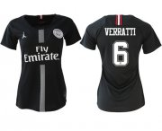 Wholesale Cheap Women's Jordan Paris Saint-Germain #6 Verratti Home Soccer Club Jersey