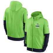 Wholesale Cheap Seattle Seahawks Nike Sideline Impact Lockup Performance Full-Zip Hoodie Neon Green