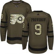 Wholesale Cheap Adidas Flyers #9 Ivan Provorov Green Salute to Service Stitched NHL Jersey