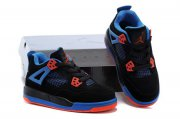 Wholesale Cheap Air Jordan 4 (IV) Kids Shoes Black/blue-orange