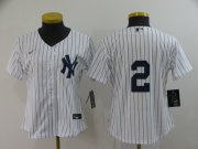 Wholesale Cheap Women's New York Yankees #2 Derek Jeter White No Name Stitched MLB Cool Base Nike Jersey