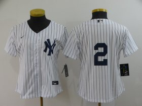 Wholesale Cheap Women\'s New York Yankees #2 Derek Jeter White No Name Stitched MLB Cool Base Nike Jersey