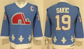 Wholesale Cheap Nordiques #19 Joe Sakic Light Blue Stitched Youth NHL Jersey