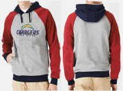 Wholesale Cheap Los Angeles Chargers Authentic Logo Pullover Hoodie Grey & Red