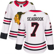 Wholesale Cheap Adidas Blackhawks #7 Brent Seabrook White Road Authentic Women's Stitched NHL Jersey