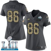 Wholesale Cheap Nike Eagles #86 Zach Ertz Black Super Bowl LII Women's Stitched NFL Limited 2016 Salute to Service Jersey