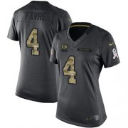 Wholesale Cheap Nike Packers #4 Brett Favre Black Women's Stitched NFL Limited 2016 Salute to Service Jersey