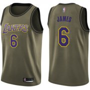 Cheap Youth Lakers #6 LeBron James Green Basketball Swingman Salute to Service Jersey