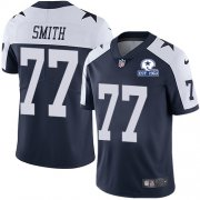 Wholesale Cheap Nike Cowboys #77 Tyron Smith Navy Blue Thanksgiving Men's Stitched With Established In 1960 Patch NFL Vapor Untouchable Limited Throwback Jersey