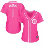 Wholesale Cheap Rangers #1 Elvis Andrus Pink Fashion Women's Stitched MLB Jersey