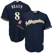 Wholesale Cheap Brewers #8 Ryan Braun Navy 2019 Spring Training Cool Base Stitched MLB Jersey