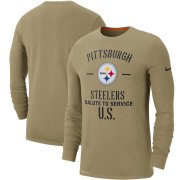 Wholesale Cheap Men's Pittsburgh Steelers Nike Tan 2019 Salute to Service Sideline Performance Long Sleeve Shirt