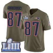 Wholesale Cheap Nike Patriots #87 Rob Gronkowski Olive Super Bowl LIII Bound Youth Stitched NFL Limited 2017 Salute to Service Jersey
