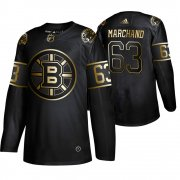 Wholesale Cheap Adidas Bruins #63 Brad Marchand Men's 2019 Black Golden Edition Authentic Stitched NHL Jersey