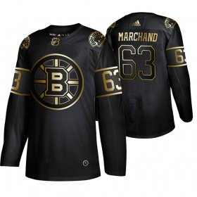 Wholesale Cheap Adidas Bruins #63 Brad Marchand Men\'s 2019 Black Golden Edition Authentic Stitched NHL Jersey