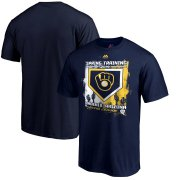 Wholesale Cheap Milwaukee Brewers Majestic 2019 Spring Training Base On Ball T-Shirt Navy